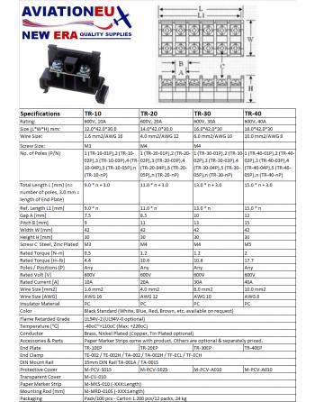 AVEUNE TR Series Terminal Block Specifications