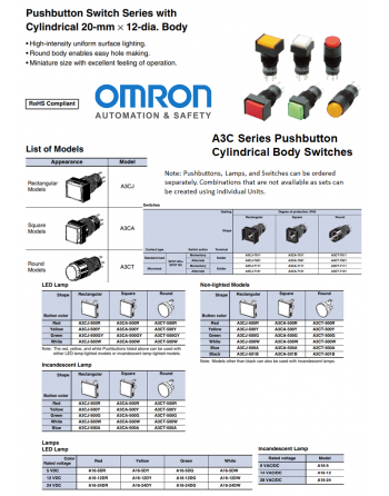 OMRON A3C Series Pushbutton Switches