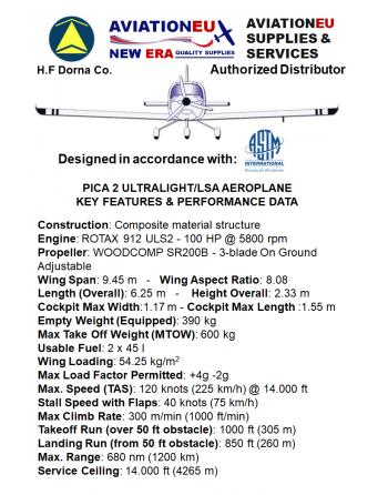 AVIATIONEU NEW ERA Pica 2 UL/LSA Aeroplane Specifications